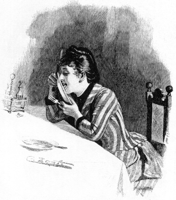 Woman licking a plate.