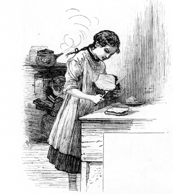 Girl cutting bread.