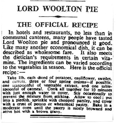 Lord Woolton Pie - The Official Recipe