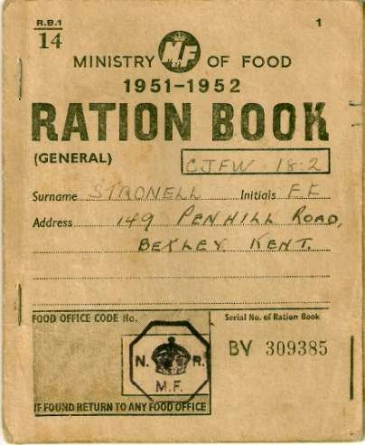 Ministry of Food 1951-1952 Ration Book