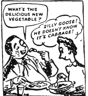 What is this delicious new vegetable? Silly goose! He doesn't know it is cabbage!