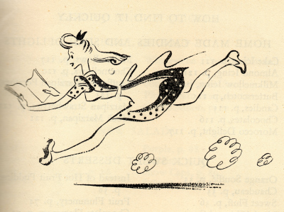 Girl running with cook book.